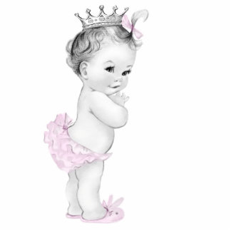 Adorable Vintage Pink Baby Girl Shower Photo Cutouts