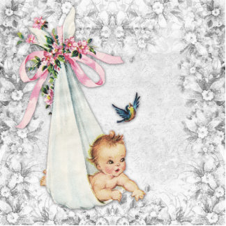 Adorable Vintage Pink Baby Girl Shower Cut Out