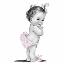 Adorable Vintage Pink Baby Girl Shower Statuette