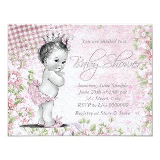 Adorable Vintage Pink Baby Shower 4.25x5.5 Paper Invitation Card