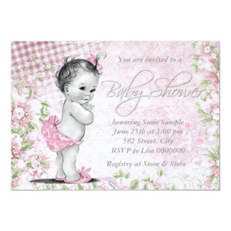Adorable Vintage Pink Baby Shower Personalized Announcements