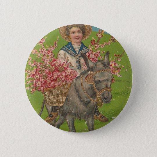 Adorable Vintage Postcard Button