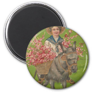 Adorable Vintage Postcard 2 Inch Round Magnet