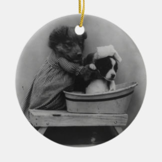Adorable Vintage Puppy Bath Photo Ceramic Ornament