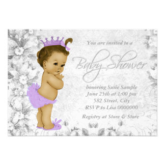 Adorable Vintage Purple and Gray Baby Shower Custom Announcements