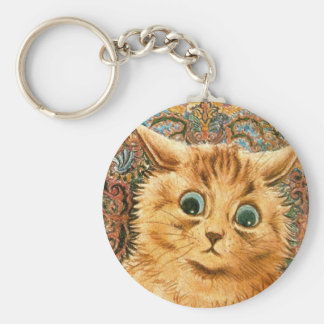 Adorable Wallpaper Cat by Louis Wain Basic Round Button Keychain