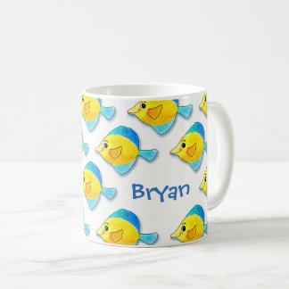 Adorable Watercolor Blue and Yellow Fish Pattern Coffee Mug