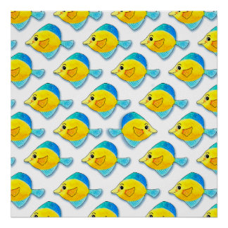 Adorable Watercolor Blue and Yellow Fish Pattern Poster