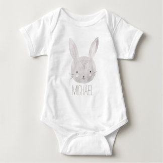 Adorable Watercolor Bunny Baby Bodysuit