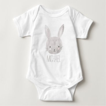 heartlocked Adorable Watercolor Bunny Baby Bodysuit