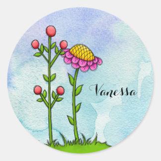 Adorable Watercolor Doodle Flower Sticker