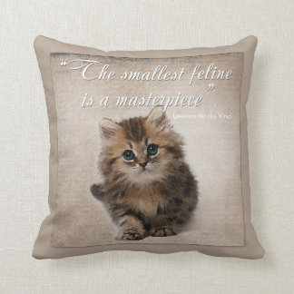 Adorable Watercolor Kitten V2 - with Quote Throw Pillow