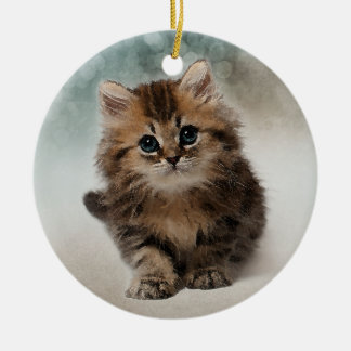 Adorable Watercolor Kitten - with Quote Ceramic Ornament