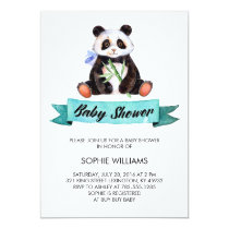 Adorable Watercolor Panda Baby Shower Invitation