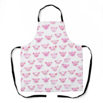 Adorable Watercolor Pink Pig Face Pattern Apron