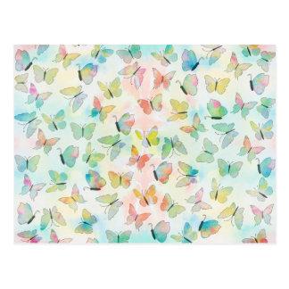 Adorable watercolors paint butterflies pattern postcards