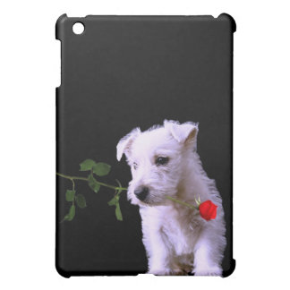 Adorable Westie Puppy With Red Rose Case For The iPad Mini