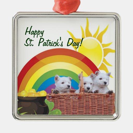 Adorable Westie St Patrick's Day Ornament