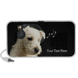 Adorable Westie Wearing Headphones Speaker