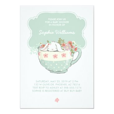 Toddler & Baby themed Adorable White Bunny in a Tea Cup Baby Shower Card