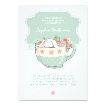 Adorable White Bunny in a Tea Cup Baby Shower Invitation