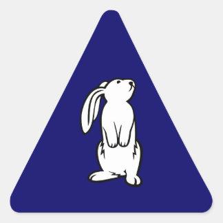 Adorable White Bunny Rabbit Triangle Sticker
