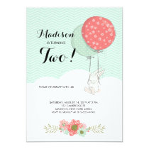 Adorable White Bunny with Balloons Birthday Party Invitation