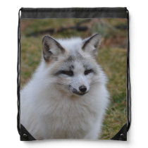 Adorable White Fox Drawstring Backpack