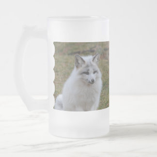 Adorable White Fox Frosted Glass Beer Mug