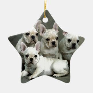 Adorable White French Bulldogs Ceramic Ornament