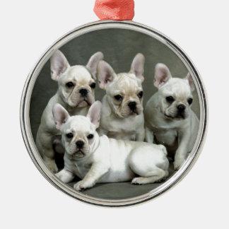 Adorable White French Bulldogs Metal Ornament