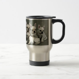 Adorable White French Bulldogs Travel Mug