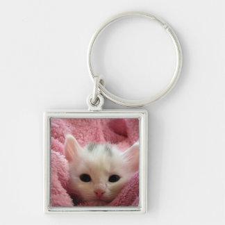 Adorable White Kitten Keychain