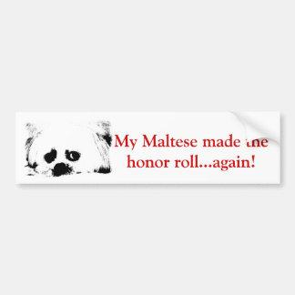 Adorable white maltese in black and white car bumper sticker