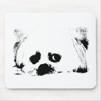 Adorable white Maltese puppy dog Mouse Pad