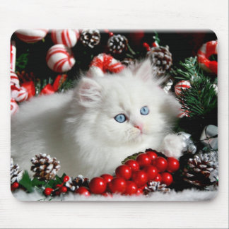 Adorable White Persian in Christmas setting Mouse Pads