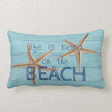 Beach Themed Adorable Wood Texture,Starfish Lumbar Pillow