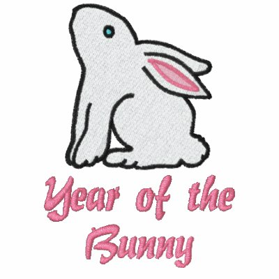 Adorable Year of the Rabbit Embroidered Hoodie