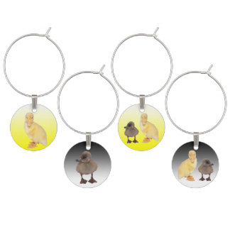 Adorable Yellow and Gray Duckling Photographs Wine Glass Charm