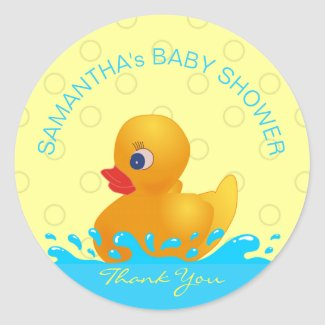 Adorable Yellow Blue Rubber Ducky Baby Shower