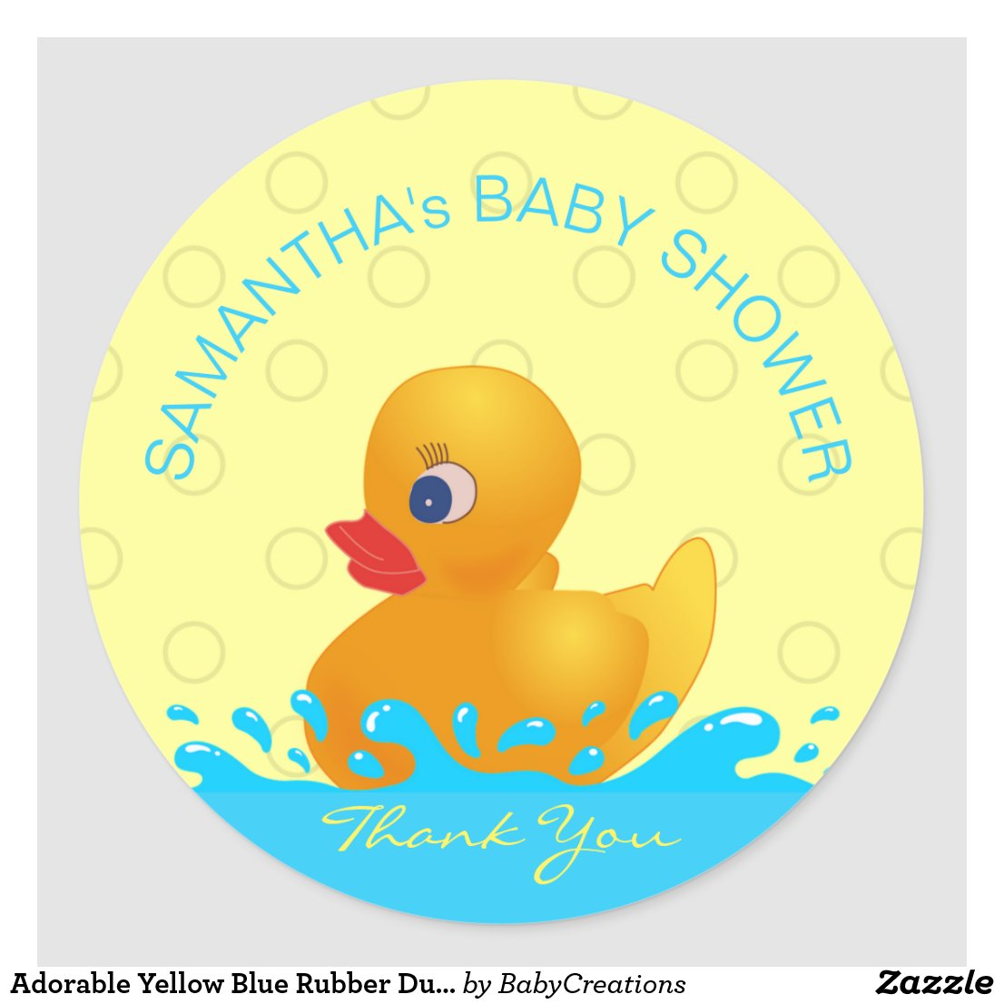 Adorable Yellow Blue Rubber Ducky Baby Shower ...