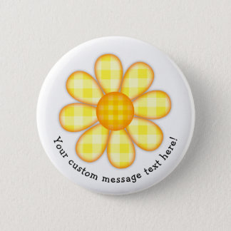 Adorable Yellow Country Plaid Graphic Flower Icon Pinback Button