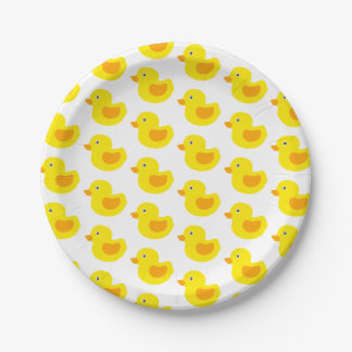 Adorable Yellow Rubber Ducks Duckies Paper Plate