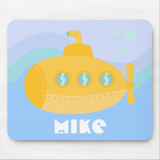 Adorable Yellow Submarine Submerged Underwater Mouse Pad