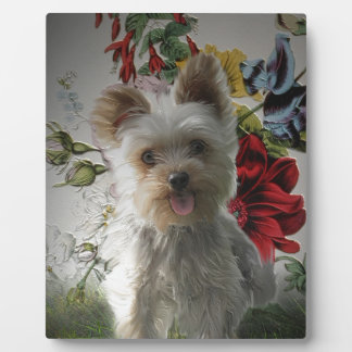 Adorable Yorkie and Rose Photo Painting Gifts Plaque