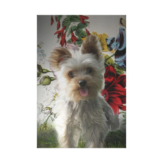 Adorable Yorkie and Rose Photo Painting Single Canvas Print