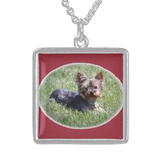Adorable Yorkie Dog Medium Sterling Silver Necklac Pendant