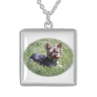 Adorable Yorkie Dog Medium Sterling Silver Necklac Necklaces