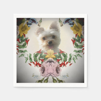 Adorable Yorky in-a Rose Cocktail Paper Napkins