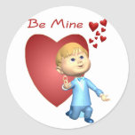 Adorable Young Man With Engagement Ring Caricature Round Sticker